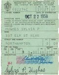 Autographs:Authors, Sylvia Plath Driver's License Twice Signed...