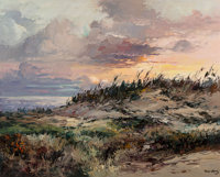 José Vives-Atsara (Spanish/American, 1919-2004) Sunset at South Padre, Texas Oil on board 24 x 30