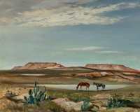 Perry Nichols (American, 1911-1992) Watering Hole, 1951 Oil on Masonite 24 x 30 inches (61.0 x 76
