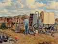Fine Art - Painting, American, Fred Darge (American, 1900-1978). At the Chuck Wagon. Oil on canvasboard. 12 x 16 inches (30.5 x 40.6 cm). Signed lower ...
