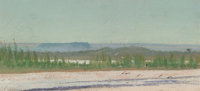 Frank Reaugh (American, 1860-1945) Untitled [Arid Landscape with Birds] Pastel on paper 3 x 6-1/2