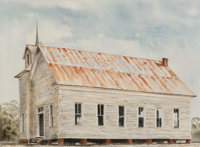 Ancel E. Nunn (American, 1928-1999) Church at Shiloh Texas, 1973 Watercolor on paper 21-1/2 x 29