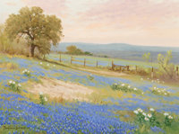 Porfirio Salinas (American, 1910-1973) Field of Bluebonnets Under a Morning Sky Oil on canvas 12