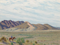 Fred Darge (American, 1900-1978) Looking For Cattle, Big Bend Country, Texas Oil on canvasboard 9