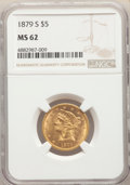 1879-S $5 MS62 NGC. NGC Census: (56/27). PCGS Population: (70/45). CDN: $850 Whsle. Bid for problem-free NGC/PCGS MS62...