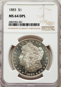 Morgan Dollars, 1883 $1 MS64 Deep Mirror Prooflike NGC. NGC Census: (135/43). PCGS Population: (277/112). CDN: $450 Whsle. Bid for problem-...