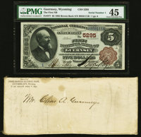 Guernsey, WY - $5 1882 Brown Back Fr. 477 The First National Bank Ch. # 5295 PMG Choice Extremely Fine