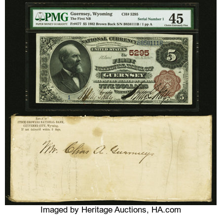 Guernsey, WY - $5 1882 Brown Back Fr. 477 The First National Bank Ch. # 5295 PMG Choice Extremely Fine 45. ... (Total: 2 items)
