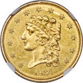 Classic Quarter Eagles, 1834 $2 1/2 MS62 NGC. Breen-6138, Variety 1, R.1...