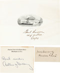Autographs:Statesmen, Supreme Court Group of Signatures Including Arthur Goldberg, Harlan Stone, and Earl Warren. ... (Total: 3 Items)