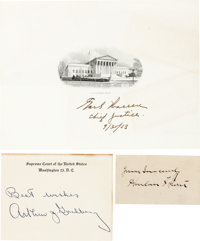 Supreme Court Group of Signatures Including Arthur Goldberg, Harlan Stone, and Earl Warren