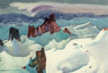 Fine Art - Work on Paper, Millard Sheets (American, 1907-1989). Skiing in the Sierras, 1984. Watercolor on paper. 27-1/2 x 40 inches (69.9 x 101.6...