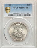 Franklin Half Dollars, 1950 50C MS66 Full Bell Lines PCGS. PCGS Population: (307/23). NGC Census: (56/3). CDN: $425 Whsle. Bid for problem-free NG...