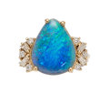 Estate Jewelry:Rings, Black Opal, Diamond, Gold Ring. ...