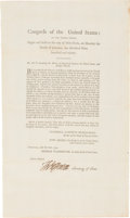 "Autographs:U.S. Presidents, Thomas Jefferson Foreign Service Act Signed ""Th: Jefferson"" as Secretary of State. ..."