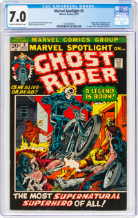 Marvel Spotlight #5 Ghost Rider (Marvel, 1972) CGC FN/VF 7.0 Cream to off-white pages