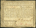 Colonial Notes:Massachusetts, Uncancelled Massachusetts May 5, 1780 $3 Fine-Very Fine.. ...