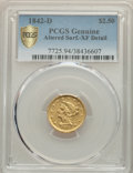 Liberty Quarter Eagles, 1842-D $2 1/2 -- Altered Surfaces -- PCGS Genuine. XF Details. Variety 3-F....