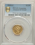 1844-C $2 1/2 -- Cleaned -- PCGS Genuine. XF Details. Variety 1....(PCGS# 7735)