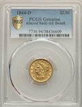 Liberty Quarter Eagles, 1844-D $2 1/2 -- Altered Surfaces -- PCGS Genuine. AU Details. Variety 5-I....
