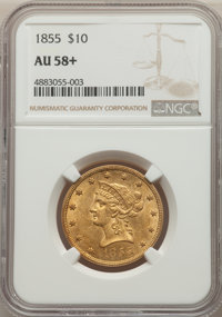 1855 $10 AU58+ NGC. NGC Census: (154/55 and 5/4+). PCGS Population: (46/28 and 2/3+). CDN: $1,300 Whsle. Bid for NGC/PCG...