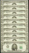Fr. 1968-F* $5 1963A Federal Reserve Notes. Ten Consecutive Examples. Crisp Uncirculated or better