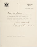 Autographs, Neville Chamberlain Typed Letter Signed....