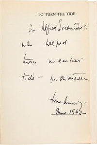 John F. Kennedy Inscribed Copy of To Turn the Tide