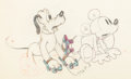Animation Art:Production Drawing, Society Dog Show Mickey and Pluto Animation Drawing (Walt Disney, 1939). ...