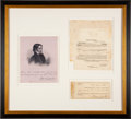 Autographs:Military Figures, David Crockett Signed Promissory Note with Notarized Certificate of Protest....