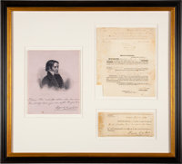 David Crockett Signed Promissory Note with Notarized Certificate of Protest
