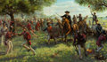 Fine Art - Painting, American, Kenneth Richard Turner (American, 20th Century). Sam Houston Charging the San Jacinto. Oil on canvas. 32 x 54 inches (81...