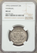 German States:Hamburg, German States: Hamburg. Free City 2 Mark 1892-J MS62 NGC,...