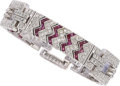 Estate Jewelry:Bracelets, Diamond, Ruby, White Gold Bracelet The bracel...
