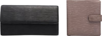 Louis Vuitton Set of Two: Black & Lilac Epi Leather Wallets Condition: 3 See Extended Condition Report for Sizes...