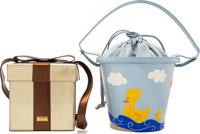 Moschino Set of Two: Blue Beach Bucket & Gold Gift Box Bags Condition: 3 See Extended Condition R