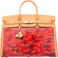 Luxury Accessories:Bags, Hermès 40cm Customized Red Camouflage Gold Swift Leather & Toile Birkin Bag with Palladium Hardware. D Square, 2...