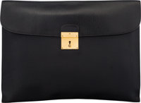 Hermès 38cm Black Clemence Leather Porte-Document Envelope with Gold Hardware R Circle, 1988 Cond
