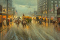Fine Art - Painting, American, G. (Gerald Harvey Jones) Harvey (American, 1933-2017). When the Cowboys Come to Town -- Houston 1900, 1983. Oil on canva...