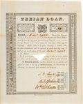 Autographs, Stephen F. Austin, Branch T. Archer, and William H. Wharton First Texian Loan Certificate Signed. ...