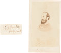 "Autographs:Military Figures, Thomas ""Stonewall"" Jackson Clipped Signature and Carte de Visite. ... (Total: 2 Items)"