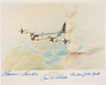 "Autographs:Military Figures, Harley Copic Enola Gay Illustration Signed by Crew Members Paul Tibbetts, Theodore ""Dutch"" Van Kirk and Thomas Fer..."