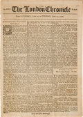 Autographs:Military Figures, [Revolutionary War] 1776 Issue of The London Chronicle Mentioning General John Burgoyne's Arrival in Quebec....