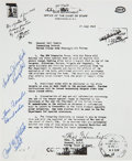 "Autographs:Military Figures, Enola Gay Atomic Bomb Souvenir Printing Signed by Crew Members Paul Tibbetts, Thomas Ferebee and Theodore ""Dutch"" Van ..."