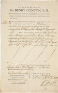 "Autographs:Military Figures, General Sir Henry Clinton Document Signed ""H. Clinton""...."