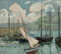 Fine Art - Painting, American, Hayley Lever (American, 1876-1958). Boats at St. Ives. Oil on canvas laid on board. 10 x 12-1/2 inches (25.4 x 31.8 cm)...