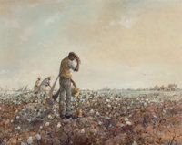 Robert M. Rucker (American, 1932-2001) Working the Cotton Field Oil on canvas 24 x 30 inches (61
