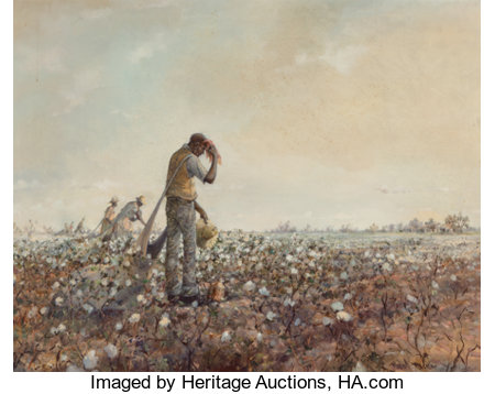 Robert M. Rucker (American, 1932-2001) Working the Cotton Field Oil on canvas 24 x 30 inches (61.0 x 76.2 cm) Signed...