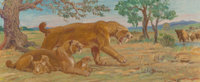 Charles Robert Knight (American, 1874-1953) Saber Tooth Tigers Oil on board 15 x 36 inches (38.1