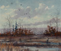 Fine Art - Painting, American, Eric Sloane (American, 1905-1985). Duck Hunting. Oil on canvasboard. 20 x 24 inches (50.8 x 61.0 cm). Signed lower right...